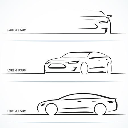 Ilustración de Set of luxury car silhouettes. Modern sports sedan in three angles. Vector illustration - Imagen libre de derechos