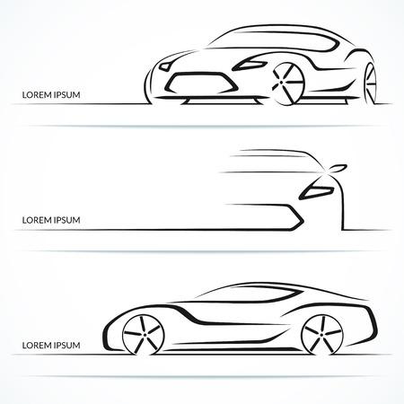 Ilustración de Set of modern car silhouettes. Sports car in three angles. Vector illustration - Imagen libre de derechos