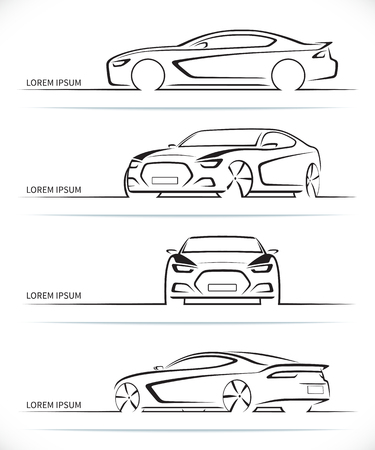 Ilustración de Set of sports car silhouettes. Modern abstract luxury automobile outlines / contours isolated on white background. Front, rear, side and 3/4 views. Vector illustration - Imagen libre de derechos