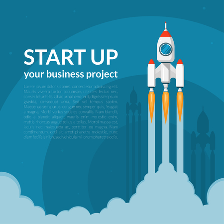 Illustration pour Space rocket launch. New business project start up concept in flat design style. Space for text. Vector illustration background - image libre de droit