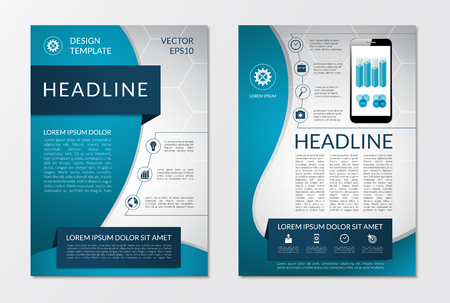 Ilustración de Flyer brochure design layout template with set of business marketing icons and infographic elements. Vector illustration - Imagen libre de derechos