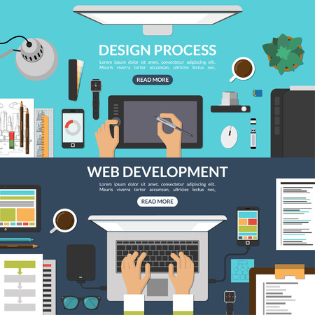 Illustration for Web and graphic design process and web development concept background banners set in flat style. Top view of a desktop. Vector illustration - Royalty Free Image