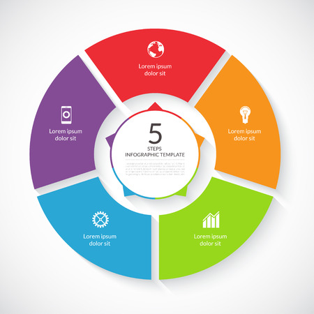 Ilustración de Vector infographic circle. Template for graph, cycling diagram, round chart, workflow layout, number options, web design. 5 steps, parts, options, stages business concept - Imagen libre de derechos