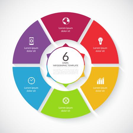 Illustration pour Vector infographic circle. Template for graph, cycling diagram, round chart, workflow layout, number options, web design. 6 steps, parts, options, stages business concept - image libre de droit