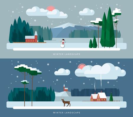 Photo pour Winter landscape background banners set in flat design style. Winter village, church, forest, snowman, deer, christmas tree, snowfall. Vector illustration - image libre de droit