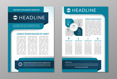 Ilustración de Business brochure flyer design template. Front and back page in A4 size. Vector layout with set of icons and infographic elements - Imagen libre de derechos