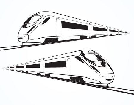 Ilustración de Set of modern high speed train silhouettes, outlines, contours. High-speed train in motion. Isolated on white background - Imagen libre de derechos