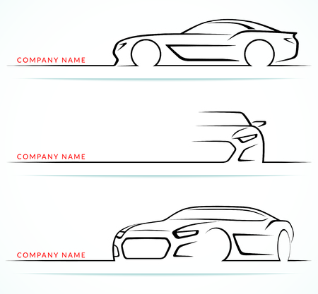 Ilustración de Set of sports car silhouettes isolated on white background. Front, rear, side views. Vector illustration - Imagen libre de derechos