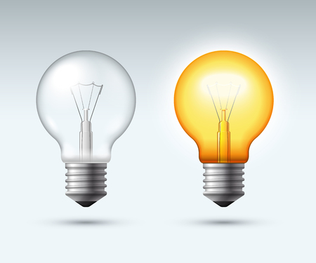 Illustration pour Light bulb. Switched on and off. Vector illustration - image libre de droit