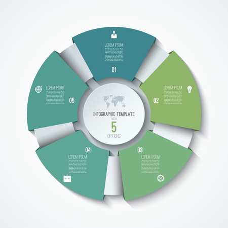Ilustración de Circle infographic template. Process wheel. Vector pie chart. Business concept with 5 options, parts, steps. Can be used for diagram, graph, chart, step by step infographics, web design - Imagen libre de derechos