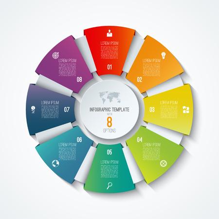 Ilustración de Circle infographic template. Process wheel. Vector pie chart. Business concept with 8 options - Imagen libre de derechos