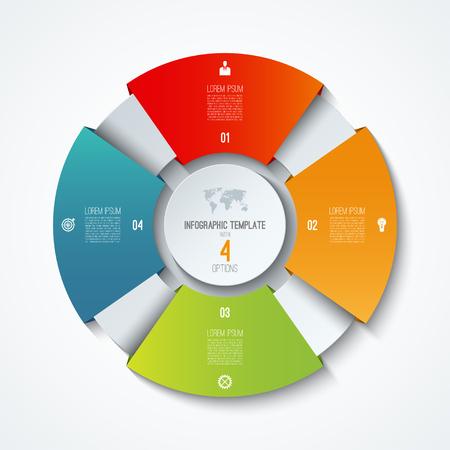 Ilustración de Circle infographic template. Process wheel. Vector pie chart. Business concept with 4 options - Imagen libre de derechos