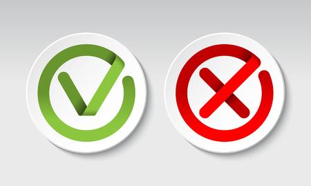 Illustration pour Check mark and cross mark buttons - image libre de droit