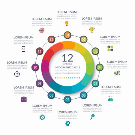 Ilustración de Infographic circle. 12 options, steps, parts. Business concept for diagram, graph, chart. Vector template - Imagen libre de derechos