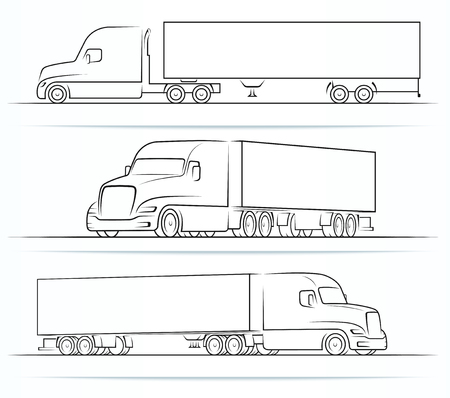 Illustrazione per American truck silhouettes, outlines, contours - Immagini Royalty Free