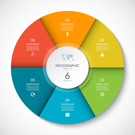 Illustration pour Vector infographic circle. Cycle diagram with 6 options. Can be used for chart, graph, report, presentation, web design. - image libre de droit