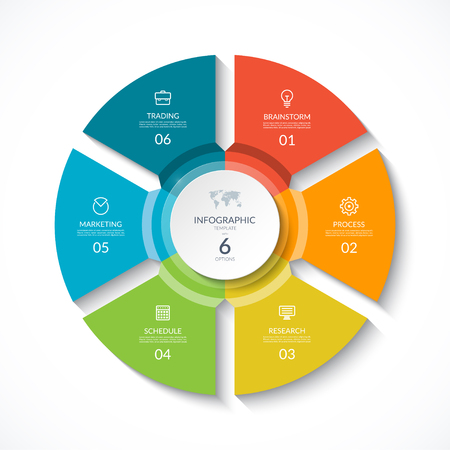 Ilustración de Vector infographic circle. Cycle diagram with 6 stages. Round chart that can be used for report, business analytics, data visualization and presentation. - Imagen libre de derechos