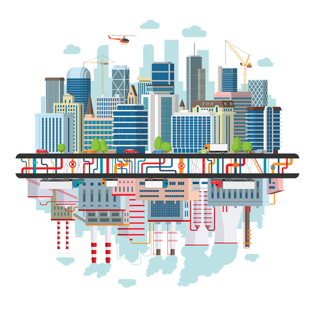 Ilustración de Landscape of a big city with traffic, underground communications and an industrial zone providing the city with energy and polluting the environment. Concept illustration of ecology and pollution - Imagen libre de derechos