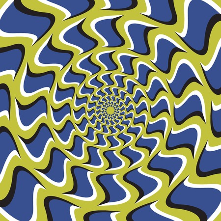 Illustration pour Optical illusion background. Blue hooks revolves circularly from the center on green background. - image libre de droit