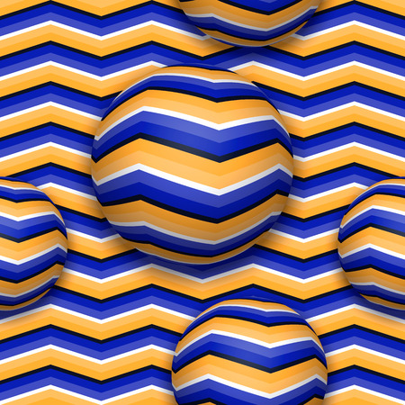 Illustration pour Balls moving upwards. Abstract vector seamless pattern with optical illusion of movement. - image libre de droit