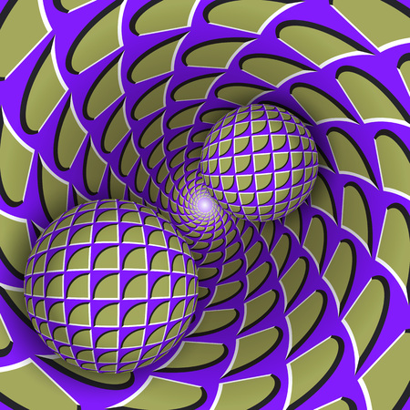Illustration pour Visual illusion illustration. Two balls are moving on rotating mottled blue purple green hole. Abstract background in a surreal style. - image libre de droit