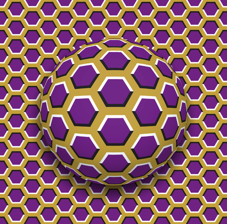 Illustration for Ball with a hexagons pattern rolling along the hexagons surface. Abstract vector optical illusion illustration. Motley background and tile of seamless wallpaper. - Royalty Free Image