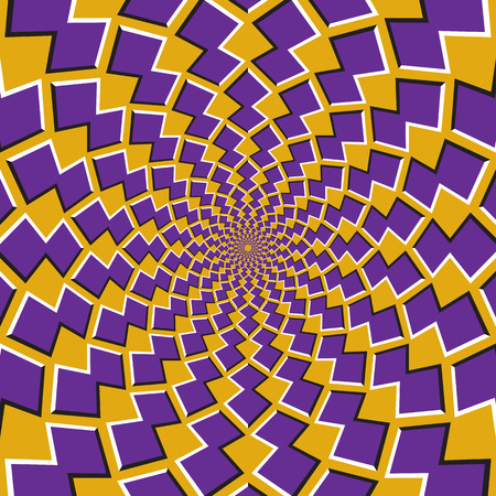 Illustration pour Optical motion illusion background. Purple shapes revolve around the center on yellow background. - image libre de droit