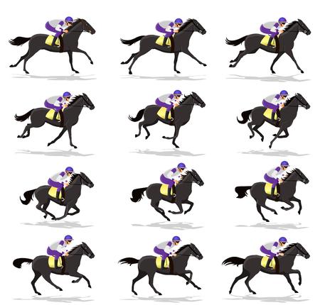 Illustration pour Horse Run Cycle animation Sprite sheet,Horse race Silhouette,  Racecourse, Jokey, Rider - image libre de droit