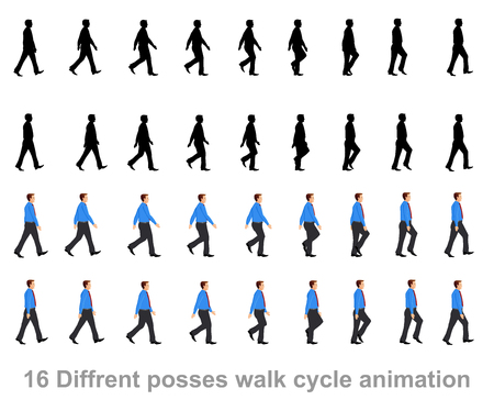 Illustrazione per business man walk cycle animation sprite sheet - Immagini Royalty Free