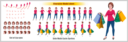 Illustration pour Shopping Woman Character Model sheet with Walk cycle Animation Sequence - image libre de droit