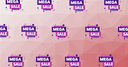 Illustration of rows of sign mega sale on pink background. retail trade sale communication concept, digitally generated image.