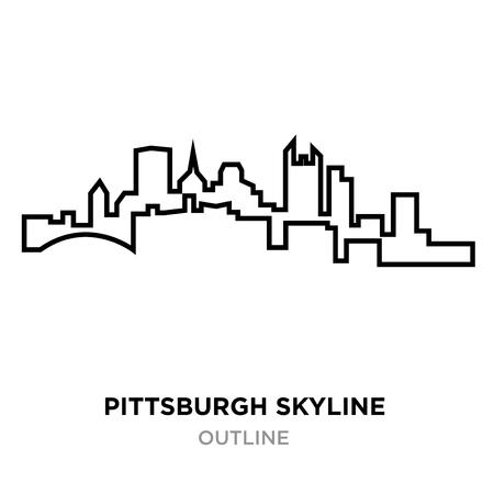 Illustration pour A Pittsburgh skyline outline on white background, vector illustration - image libre de droit