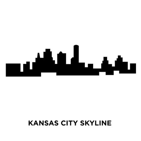 A Kansas city skyline silhouette on white background, vector illustration