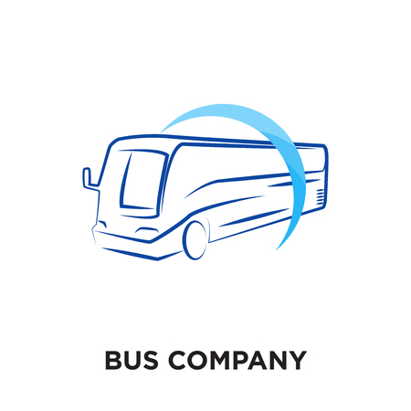 Ilustración de bus company logo isolated on white background for your web and mobile app design , colorful vector icon, brand sign & symbol for your business - Imagen libre de derechos