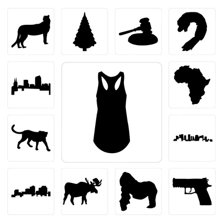 Illustration pour Set Of 13 simple editable icons such as tank top outline on white background, handgun gorilla, moose background can be used for mobile, web UI - image libre de droit