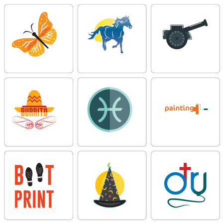 Ilustración de Set Of 9 simple editable icons such as dr., wizard hat, boot print, painting company, pisces, burrito, cannon, mascot, monarch butterfly, can be used for mobile, web - Imagen libre de derechos