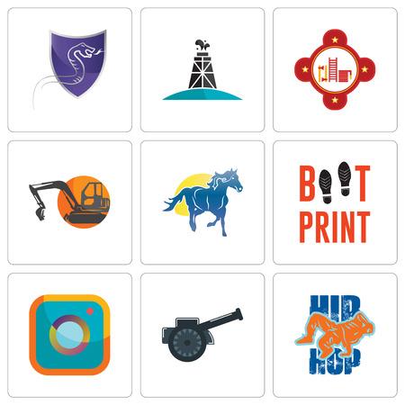 Ilustración de Set Of 9 simple editable icons such as hip hop, cannon, camera, boot print, mustang mascot, digger, fire station, oil derrick, viper, can be used for mobile, web - Imagen libre de derechos