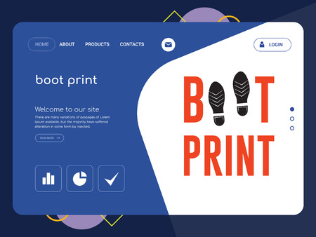 Ilustración de Quality One Page boot print Website Template Vector Eps, Modern Web Design with flat UI elements and landscape illustration, ideal for landing page - Imagen libre de derechos