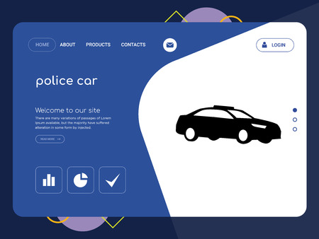 Illustration pour Quality One Page police car Website Template Vector Eps, Modern Web Design with flat UI elements and landscape illustration, ideal for landing page - image libre de droit