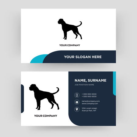 Illustration pour boxer dog, business card design template, Visiting for your company, Modern Creative and Clean identity Card Vector - image libre de droit