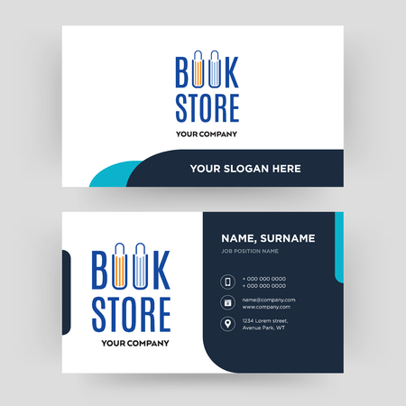 Illustration pour book store, business card design template, Visiting for your company, Modern Creative and Clean identity Card Vector - image libre de droit