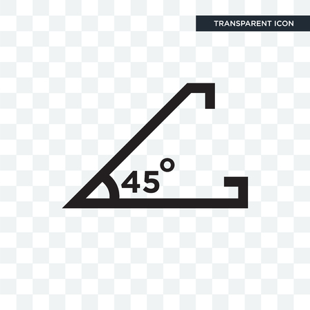 Illustration for Acute angle of 45 degrees vector icon isolated on transparent background, Acute angle of 45 degrees logo concept - Royalty Free Image