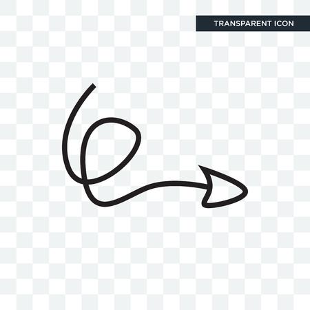 Ilustración de Swirly arrow vector icon isolated on transparent background, Swirly arrow logo concept - Imagen libre de derechos