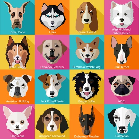 Ilustración de Set of flat popular breeds of dogs icons. Vector illustration. - Imagen libre de derechos