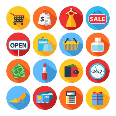 Ilustración de Set of flat shopping icons. Vector illustration. - Imagen libre de derechos