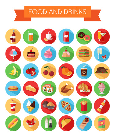 Set of colorful food and drinks icons. Flat style design isolated icons with long shadow. Vector illustration.