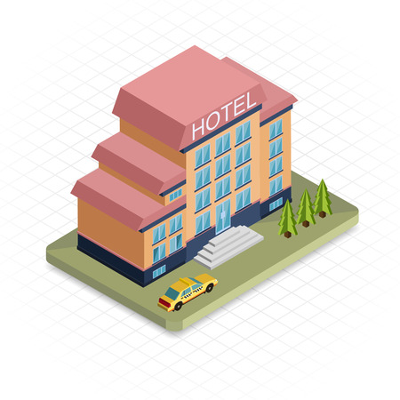 Illustrazione per Hotel building. Isometric 3d pixel design icon.  Modern flat design. Vector illustration for web banners and website infographics. - Immagini Royalty Free