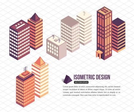Illustration pour Set of isometric tall buildings for city building. Vector illustration. - image libre de droit