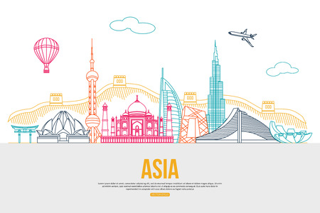 Illustration pour Asia travel background with place for text. Isolated Asian outlined sightseeings and symbols. Skyline detailed silhouettes. Vector illustration. - image libre de droit