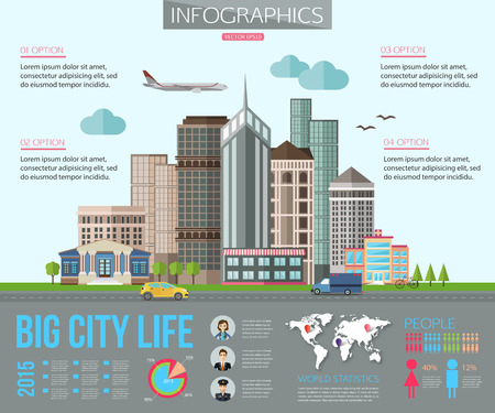 Ilustración de Big city life infographics with road, tall buildings, skyscrapers, car, bicycle, plane. Flat style design. Vector illustration with place for text. - Imagen libre de derechos